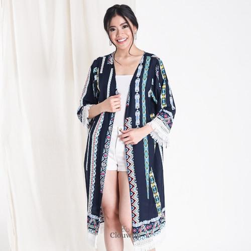 Foto Produk Clouwny - Nusa Boho Outer - Outer Tunik Wanita - Outwear Wanita - Biru dari Clouwny
