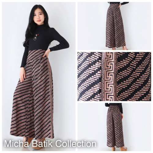 Foto Produk Celana batik paris cap: Culotte panjang sogan cream dari Micha Batik Collection