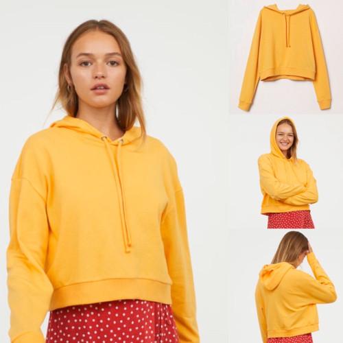 Foto Produk Sweater HnM Crop Top Hoodie Sweatshirt Mustard Original H&M Kuning dari OTOMO Store