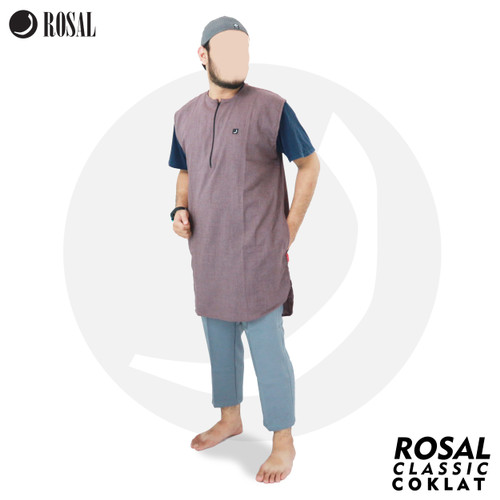 Foto Produk ROSAL - Rompi Pakaian Shalat Salat Baju Koko Gamis Pakistan Pria - Cokelat, M dari HAVI Store