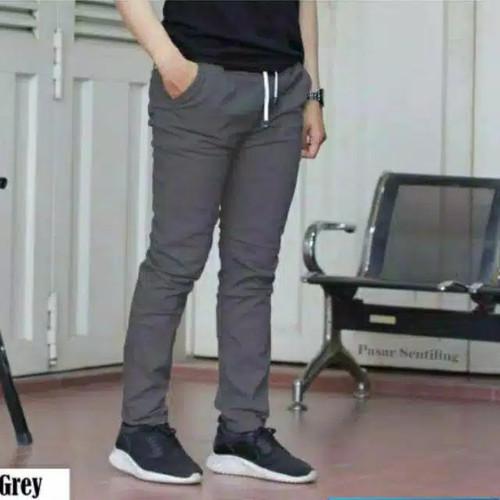 Foto Produk Celana chino panjang rip pinggang karet polos pria bara katun krem - Abu-abu, 28 dari celana panjang pria