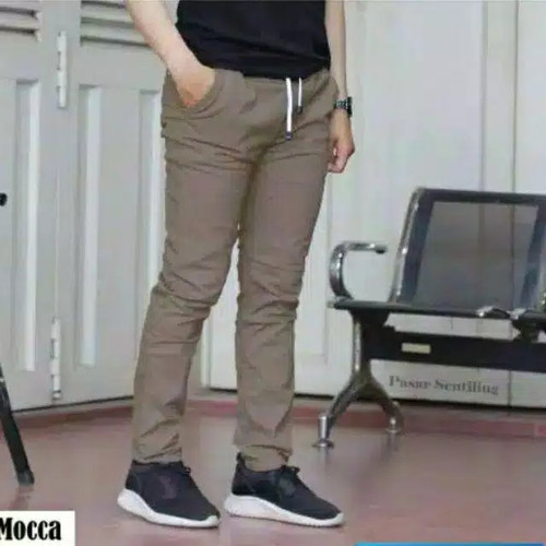 Foto Produk Celana chino panjang rip pinggang karet polos pria bara katun krem - Mocca, 28 dari celana panjang pria