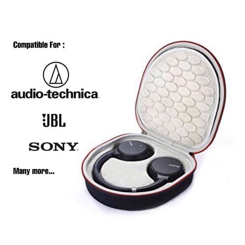 Foto Produk Headphone Headset hard case bag pouch box for Sony Audio Technica jbl - EXT BLACK, INT WHITE dari docker