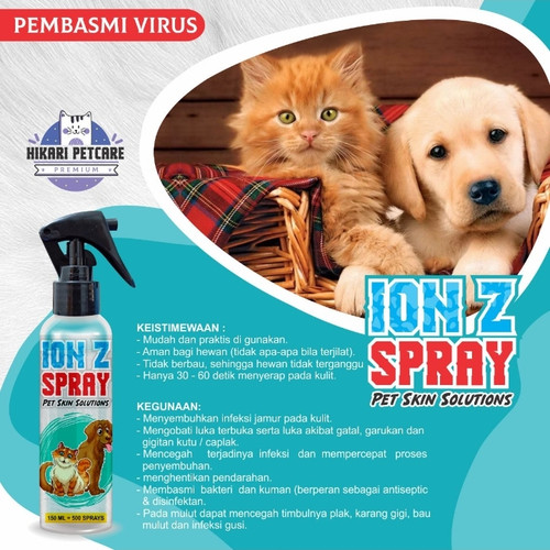 Foto Produk ION Z Spray basmi virus,Jamur, Scabies,luka pada kucing anjing kelinci dari mianistore
