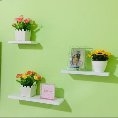 Foto Produk 3 pcs rak dinding rak gantung floating shelves - Putih dari 703 handmade
