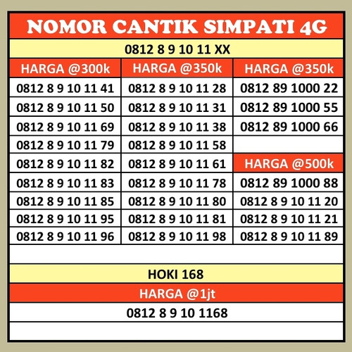 Foto Produk Nomor Cantik simPATI 0812 Seri Naik dari okenomor