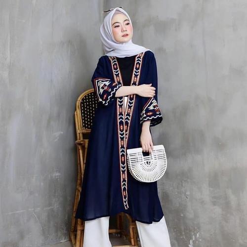 Foto Produk long outer etnik / cardigan wanita termurah / cardigan bahan moscrepe - Biru dari Syif@shop