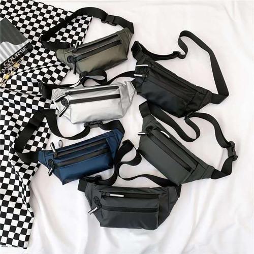 Foto Produk Tas Selempang Pria Tas Pria Waistbag Distro Trendy Serbaguna HITAM - Biru dari Leather Concept