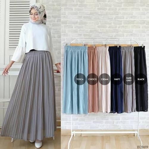 Foto Produk rok plisket panjang / rok plisket mayung - Abu-abu, all size dari hanif olstore