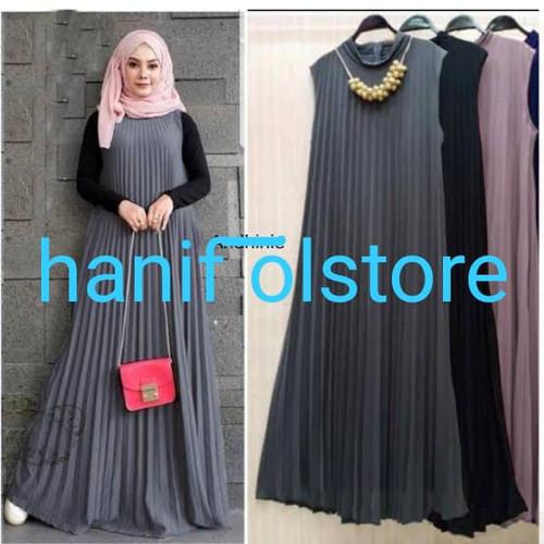 Foto Produk long dress plisket tanpa lengan - Abu-abu, all size dari hanif olstore