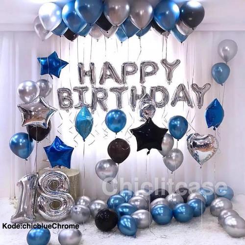 Foto Produk Paket set balon chrome happy birthday elegant exclusive fancy dari chic lit case