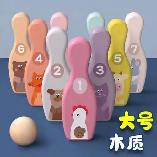 Foto Produk Mainan anak edukasi - Wooden bowling games - mainan bowling dari 2D