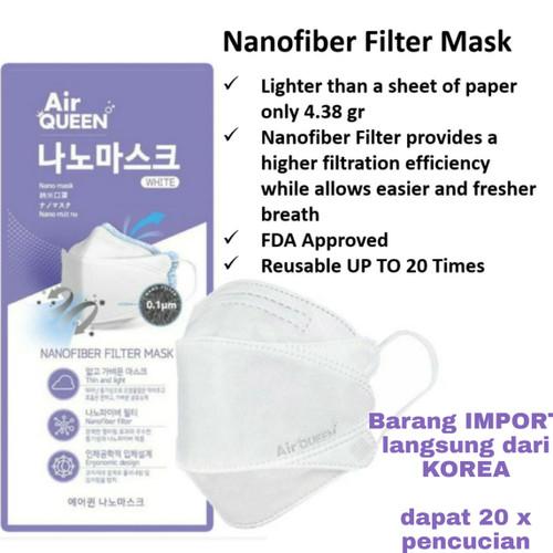 Foto Produk Masker NANO merk AIR QUEEN made in KOREA berbahan NANOFIBER FILTER - Putih dari KOKO'DANNY