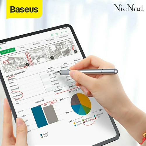 Foto Produk Baseus 2 in 1 Capacitive Touch Screen Stylus Pen iPhone iPad Tablet PC - Silver dari NicNad Digital Store