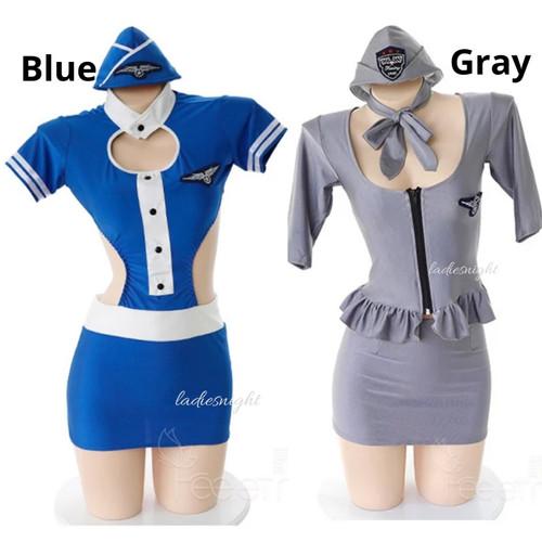 Foto Produk Donna Costume Suit Lingerie Cosplay Kostum Pramugari Pilot - Abu-abu dari Ladies Night