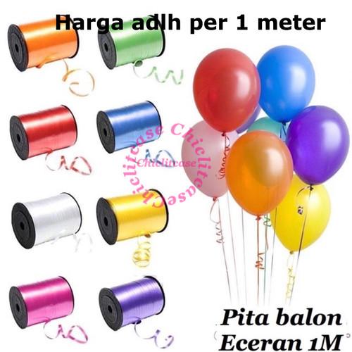 Foto Produk Pita tali balon kado ecer eceran 1 M merah gold putih pink ungu dari chic lit case