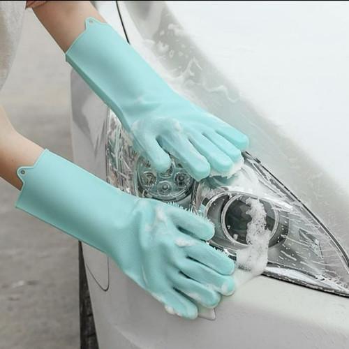 Foto Produk Sarung Tangan Silikon Serbaguna Silicone Dishwashing Magic Glove - RANDOM dari Belly Belly