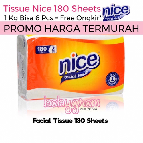 Foto Produk NICE Facial Tissue 180 Sheets 2 Ply / Tisu Tissu Travel Refill dari Babygram_indonesia