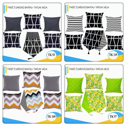 Foto Produk Paket Taplak + Sarung Bantal Sofa 5 pcs 45 x 45 dari pondok aren shop