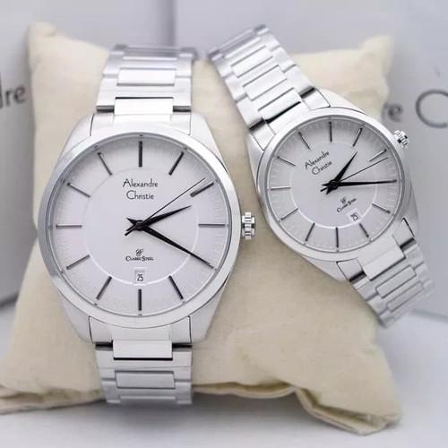 Foto Produk Jam Tangan Couple Alexandre Christie 8579 Silver White Original dari v2chineshop