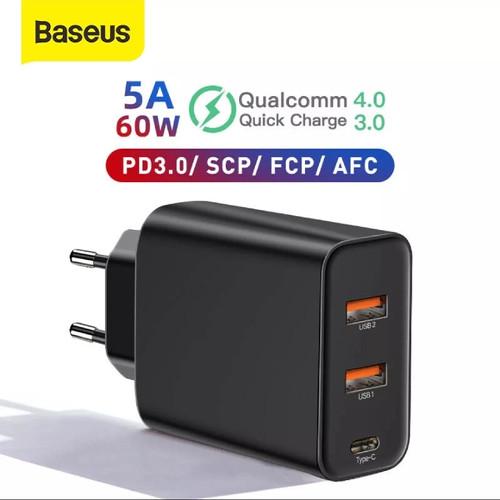 Foto Produk Adaptor Charger BASEUS 60W QC 3.0 PD 3.0 Power Delivery - Hitam dari Gift/Kado