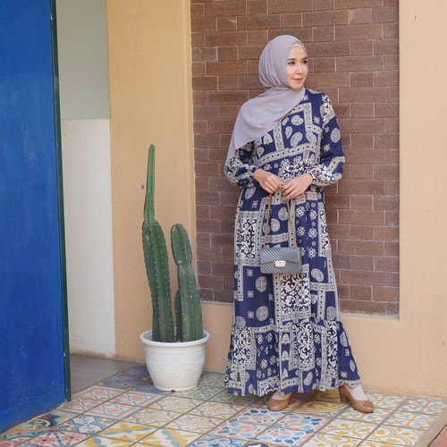 Foto Produk [REAL PICTURE] KANJENG HOMEY DRESS RAYON DASTER TANAH ABANG PGMTA - NAVY dari FaVia Shop
