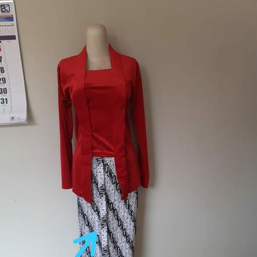 Foto Produk kebaya kutubaru bludru polos premium (size standar) - Merah, M dari farza olshopp
