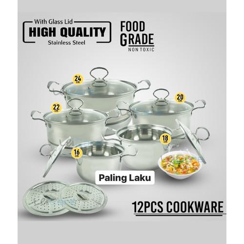 Foto Produk Panci Set High Pot Stainless Steel 12 pcs dari Cellis Houseware