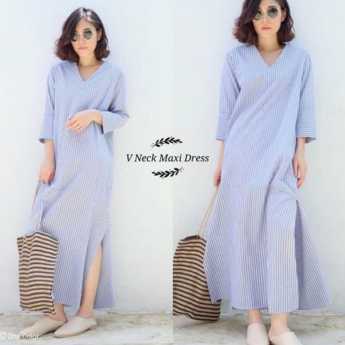 Foto Produk MAXI DRESS V NECK (0501) Fashion wanita Jamin Bahan Tebal Nyaman Halus - Biru Muda dari rever_woman