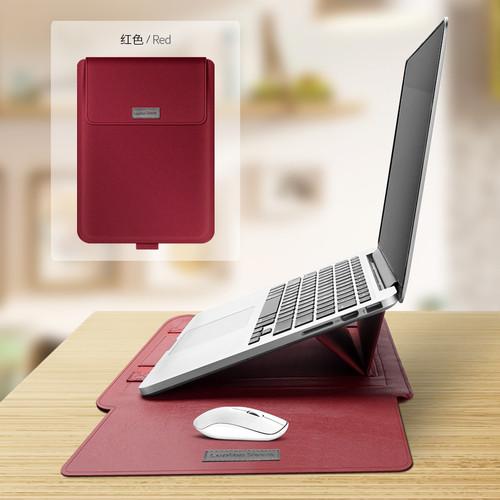 Foto Produk Premium Laptop Sleeve PU Leather with Mousepad and Kickstand 13 inch - Merah dari Warehousegadget28