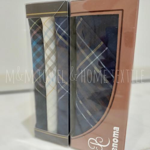 Foto Produk Sapu Tangan Pria Renoma per box/ 3warna (kombinasi hitam, putih, biru) dari M n M Towel Home Style