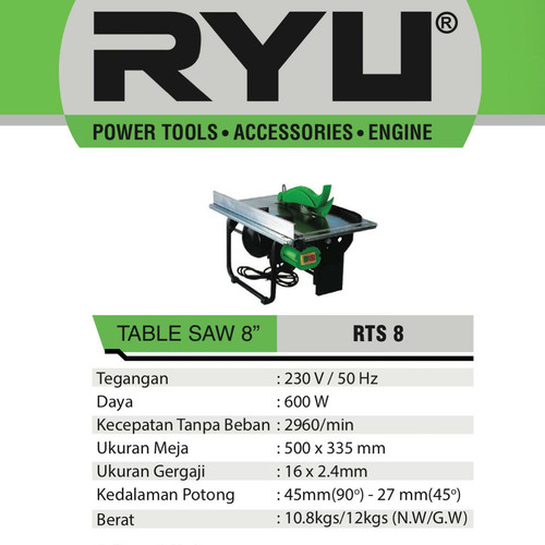 "Foto Produk RYU TABLE SAW 8"" RTS 8 - TABLE SAW 8"" - RYU RTS 8 dari PUSAT TEKNIK TOKO"