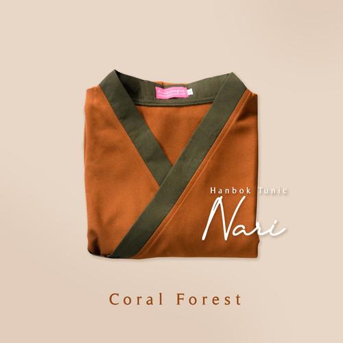 Foto Produk Hanbok Nari Tunic / Tunik / Mididress - Coral Forest, S-M dari sheenofficial