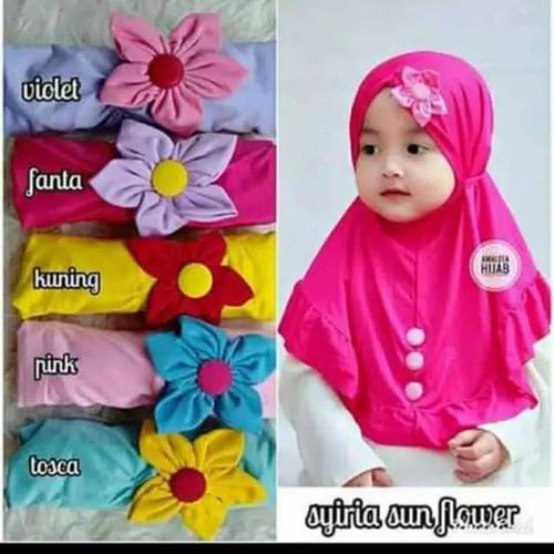 Foto Produk Jilbab bayi bunga matahari/kerudung anak bunga matahari hijab instan - Merah Muda dari RICHIESTO ID