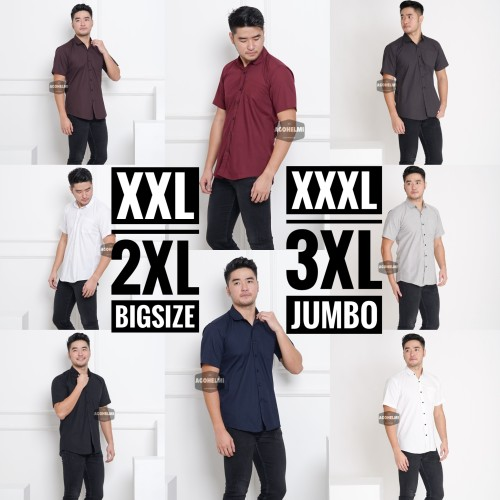 Foto Produk Kemeja Lengan Pendek Pria Polos Big Size XXXL TripleXL 3XL Jumbo - Hitam, XXXL dari ago helmi shop