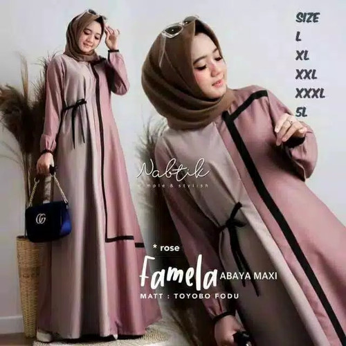 Foto Produk baju gamis wanita terbaru jumbo Famela ukuran L, XL, XXL, 3XL, 4XL - Rosse, L dari Alucio-1
