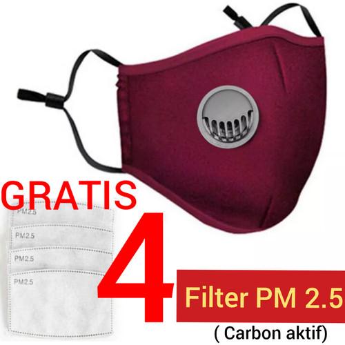 Foto Produk Masker kain Filter Katup Pm 2.5 / N95 Dewasa bisa di cuci Hepa Filter - Merah dari tokobazarmurah