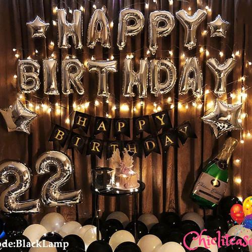 Foto Produk Set paket dekorasi ulang tahun hbd balon fancy romantis black LED dari chic lit case