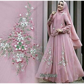 Foto Produk Gamis / Baju / Setelan Wanita Muslim Narcissus Syari ( asli bordir ) dari FERI'S TOKO