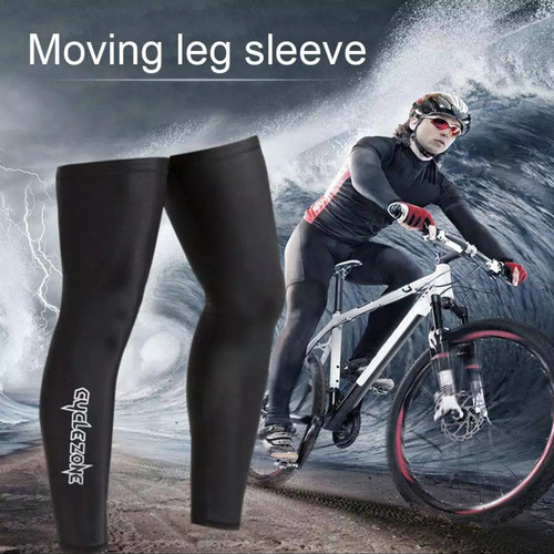 Foto Produk Manset kaki sepeda leg warmer satu pasang - Hitam, M dari Uwo Sports