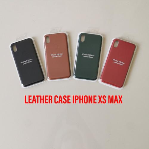 Foto Produk LEATHER CASE COVER SOFT HARD ORIGINAL IPHONE Xs MAX HARDCASE KULIT - Merah dari TOKO ACC HAPE