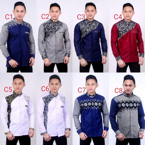Foto Produk Baju koko Kombinasi Batik Terbaru | kemeja pria lengan panjang dari Batik Awab