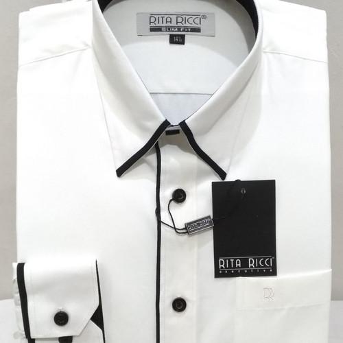 Foto Produk Kemeja Putih Pria Rita Ricci Panjang Slimfit Katun Oxford List Hitam - Putih, S dari Mega Hero Shirts