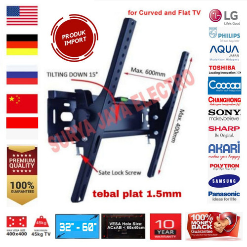 Foto Produk BRACKET TV LED IMPORT SUPER TEBAL BREKET BRAKET LCD INCH LG SHARP SONY dari surya jaya electro