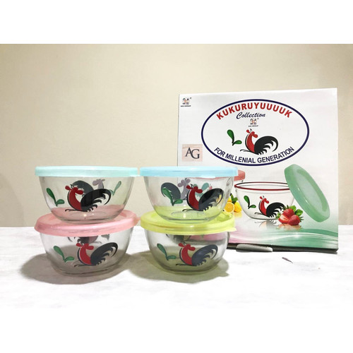Foto Produk Mangkok ayam kaca kukuruyuk 1 set 4 pcs dengan tutup plastik warna dari Fragrace