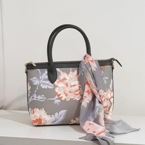 Foto Produk Paket Hampers Tas Tangan wanita dan Scarf cantik Seruni Living - Chrysan GREY dari Seruni Living