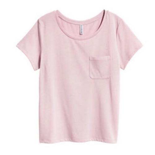 Foto Produk Kaos Wanita HnM H&M Basic Pocket Tee Pink Original Murah Polos dari OTOMO Store