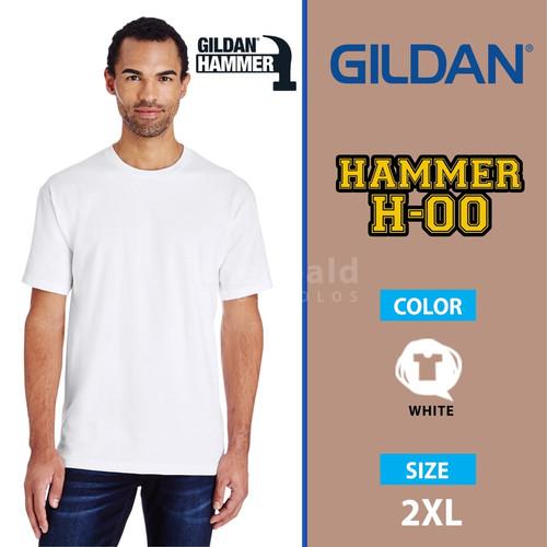 Foto Produk Kaos Polos Gildan Hammer PUTIH H-00 size 2XL - Putih, XXL dari Kaos Polos Theobald