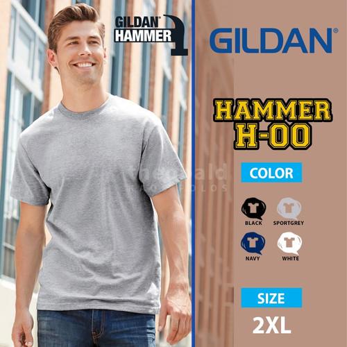 Foto Produk Kaos Polos Gildan Hammer COLOR H-00 size 2XL - White, XXL dari Kaos Polos Theobald