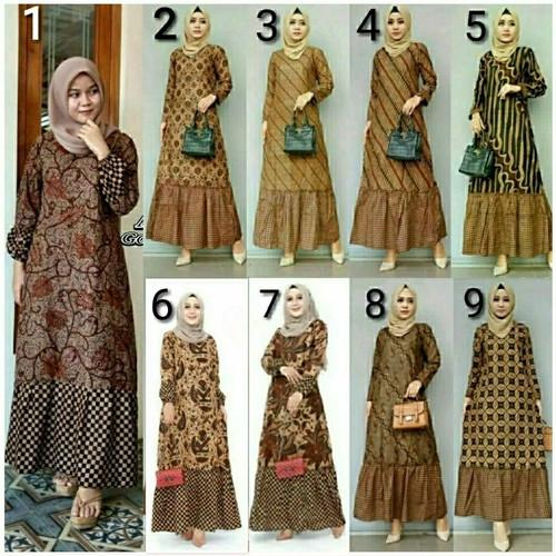 Foto Produk baju gamis batik zara sogan atasan batik wanita baju batik muslimah dari akmal sa batik